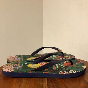 Tory Burch Floral Flip Flops Fits Size 10